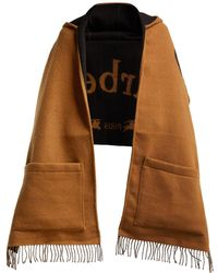 Burberry - Helene Logo Intarsia Wool Blend Hooded Scarf - Lyst