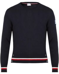 Moncler Gamme Bleu - Contrast-striped Cashmere And Silk-blend Sweater - Lyst