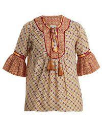 Talitha - Priya Graphic-print Cotton And Silk-blend Top - Lyst