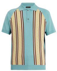 Prada - Striped Wool-knit Polo Shirt - Lyst