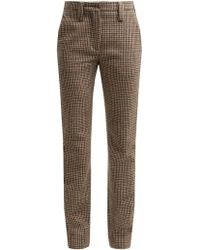 Miu Miu - Houndstooth Wool Trousers - Lyst