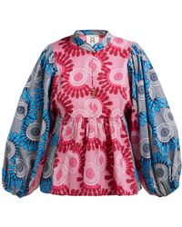 Figue - Nora Bi Colour Geometric Print Cotton Blouse - Lyst
