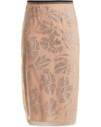 N°21 | Floral Crystal-embellished Tulle Pencil Skirt | Lyst