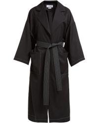 Loewe - Belted Twill Overcoat - Lyst