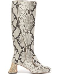 Rochas - Pascal Glitter Heel Leather Boots - Lyst