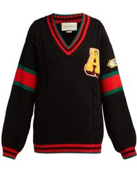Gucci - Cable Knit Sweater With Patches - Lyst