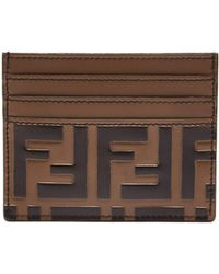 Fendi - Logo-embossed Leather Cardholder - Lyst