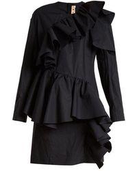 Marni - Gathered-ruffle Long-sleeved Cotton Mini Dress - Lyst