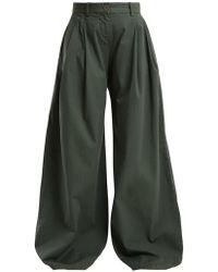 Nili Lotan - Seville Wide-leg Stretch-cotton Trousers - Lyst