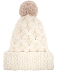Lola Hats - Braces Cable Knit Pompom Beanie Hat - Lyst
