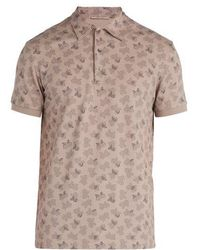 Bottega Veneta - Butterfly-print Cotton-piqué Polo Shirt - Lyst