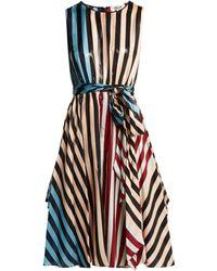 Diane von Furstenberg - Robe en soie mélangée Carrington Stripe - Lyst
