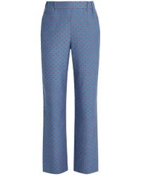 MUVEIL - Lip-print Straight-leg Trousers - Lyst