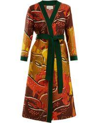 Gucci - Fawn Print Tie Waist Wool Blend Robe - Lyst