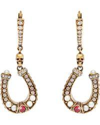 Alexander McQueen - Horseshoe Pavé-crystal Drop Earrings - Lyst