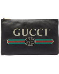 Gucci - Logo Print Large Leather Pouch - Lyst