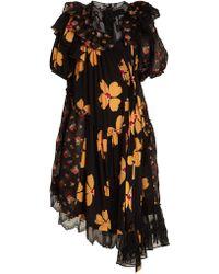 Simone Rocha | Floral-print Asymmetric Gathered Dress | Lyst