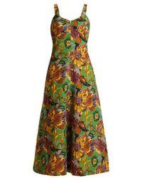 Duro Olowu - Floral-print V-neck Textured-cloqué Dress - Lyst