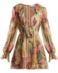 Zimmermann - Melody Floating Floral Print Silk Playsuit - Lyst
