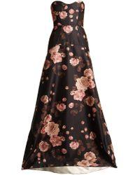 Rochas   Rose-print Bustier Satin Gown   Lyst