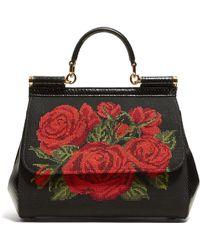Dolce & Gabbana - Sac bandoulière à roses cousues Sicily - Lyst