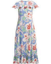 47661ad7ce9a Valentino - Hibiscus Print Ruffle Trimmed Crepe Midi Dress - Lyst