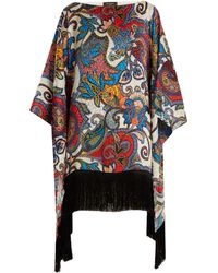 Etro | Graphic Paisley-print Fringe-trimmed Silk Top | Lyst