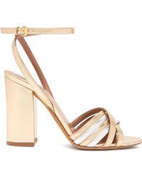 Tabitha Simmons - Toni Block Heel Metallic Sandals - Lyst