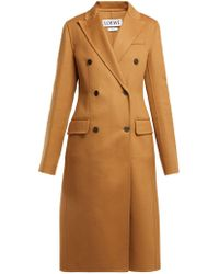Loewe - Double Breasted Wool And Cashmere Blend Coat - Lyst