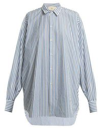By. Bonnie Young - Striped Point-collar Cotton Shirt - Lyst