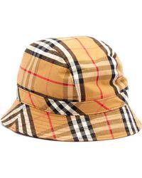 Burberry - Vintage Check Cotton Bucket Hat - Lyst