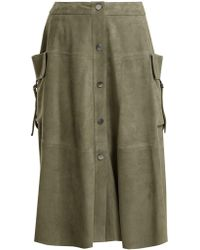 Giani Firenze - Patch-pocket Button-down Suede Skirt - Lyst