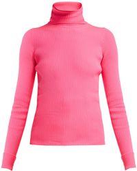 Balenciaga - Ribbed Knit Roll Neck Hooded Jumper - Lyst