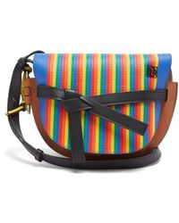 Loewe - Gate Marquetry Striped-leather Cross-body Bag - Lyst