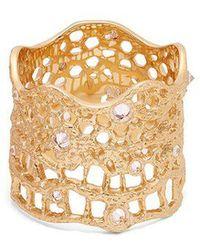 Aurelie Bidermann - - Diamond, Aquamarine & Yellow Gold Ring - Womens - Yellow Gold - Lyst