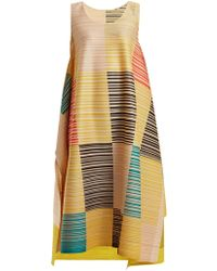 Pleats Please Issey Miyake - Pleated Square-print Dress - Lyst