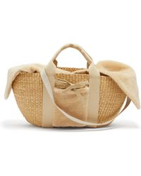 Muuñ - George Shearling And Woven Straw Bag - Lyst