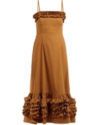 7e43646f2d8f Molly Goddard - Susie Ruffle Trimmed Cotton Poplin Midi Dress - Lyst