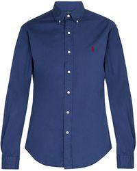 Polo Ralph Lauren - Logo-embroidered Long-sleeve Cotton Shirt - Lyst