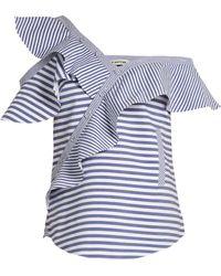 Self-Portrait - One-shoulder Striped Cotton Top - Lyst