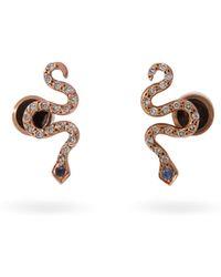 Ileana Makri Little Snake 18kt Rose Gold And Sapphire Earrings - Metallic