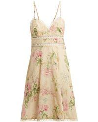 Zimmermann - Iris Floral-print Linen-blend Dress - Lyst