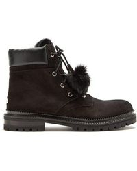 Jimmy Choo - Elba Shearling-lined Suede Boots - Lyst