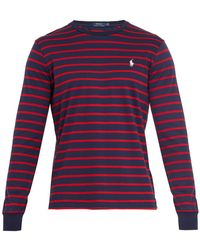 Polo Ralph Lauren | Logo-embroidered Striped Cotton-jersey Top | Lyst