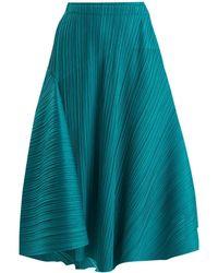 Pleats Please Issey Miyake - Pleated Circular Midi Skirt - Lyst