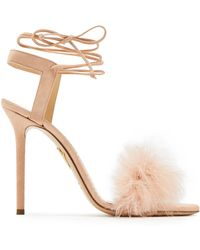 Charlotte Olympia Salsa Feather Embellished Suede Sandals
