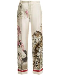 F.R.S For Restless Sleepers - Etere Tiger-print Wide-leg Silk Pyjama Trousers - Lyst