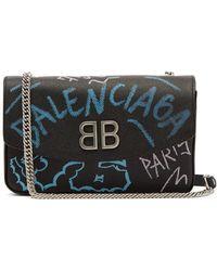Balenciaga - Bb Graffiti Leather Cross Body Bag - Lyst