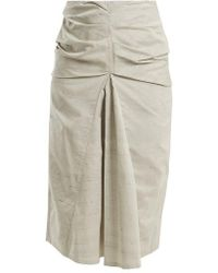 Lemaire - Ruched Cotton And Silk-blend Skirt - Lyst