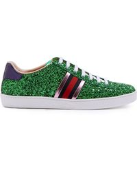 Gucci - New Ace Glitter-covered Trainers - Lyst